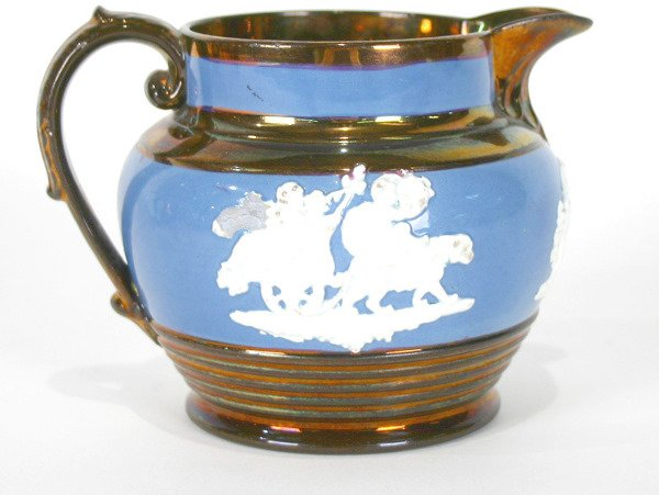 """3: English Decorated Copper Luster Pitcher 4.5""""H"""