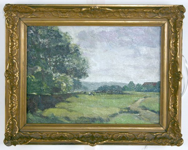 """006A: """"Summer Landscape with Cows"""" Oil on Board"""