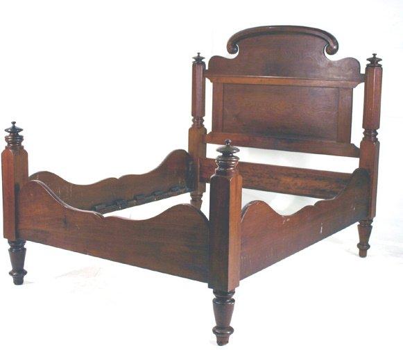 7: American Mid-Victorian Walnut Low Post Bed C. 1860