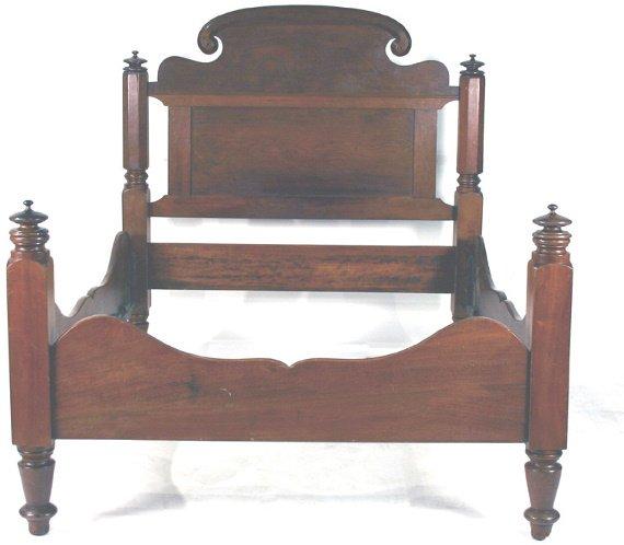 7: American Mid-Victorian Walnut Low Post Bed C. 1860 - 2