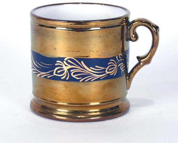 8: English Copper Luster Decorated Cup