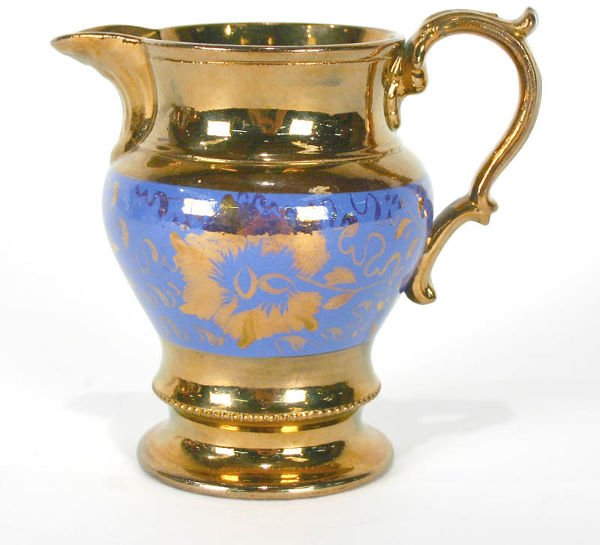 14: English Copper Luster Decorated Pitcher