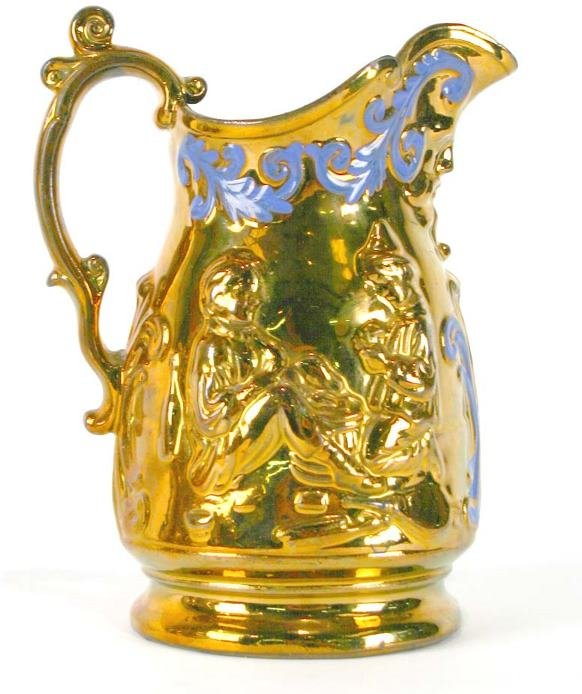 15: English Copper Luster Pitcher w/Raised Decoration