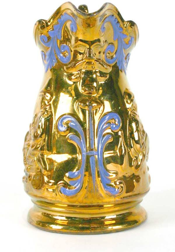 15: English Copper Luster Pitcher w/Raised Decoration - 2
