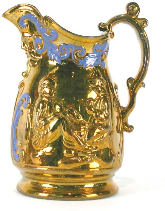 15: English Copper Luster Pitcher w/Raised Decoration - 3