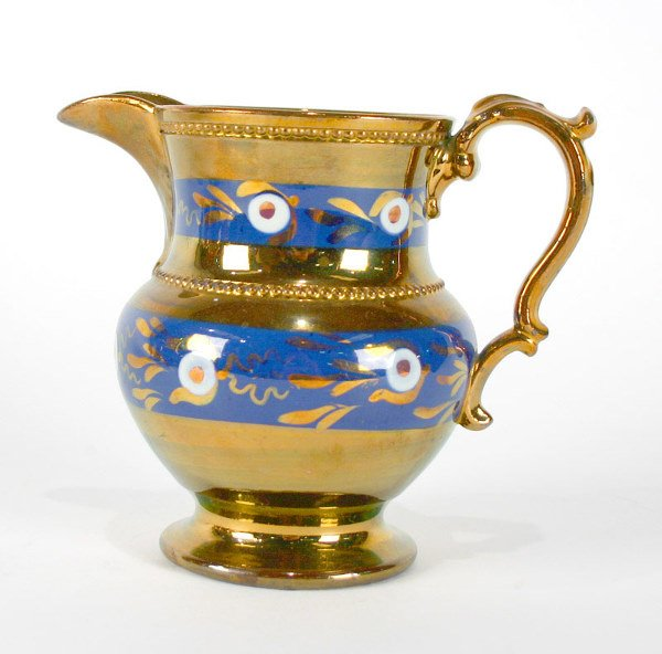 20: English Decorated Copper Luster Pitcher