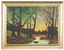 """034A: """"River Landscape-Hudson River School"""" Oil Paintin"""