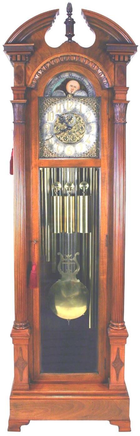 64: Tiffany Honduran Mahogany Grandfather Clock C 1900