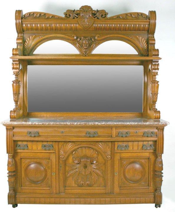 95: 19th C. American Oak Marble Top Sideboard