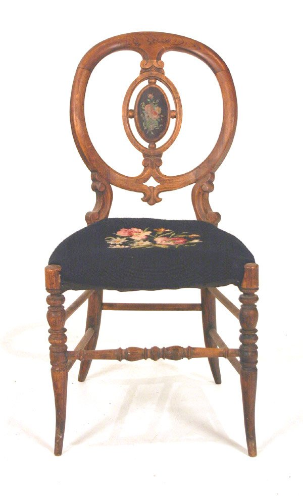 603: Victorian Balloon Back Childs Chair with Needlepoi