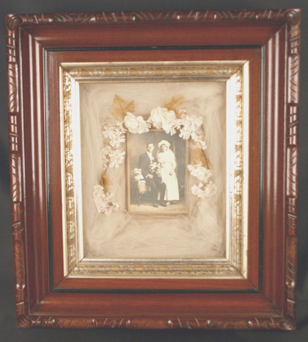 606: Early Wedding Picture in Shadow Box Frame