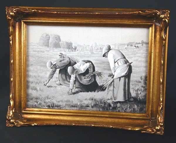 607: Victorian Framed Silk 3 Women in Field