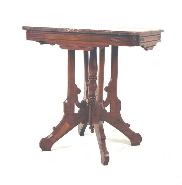 "613: Walnut Marble Top Eastlake Side Table. 29""H X 28""L"