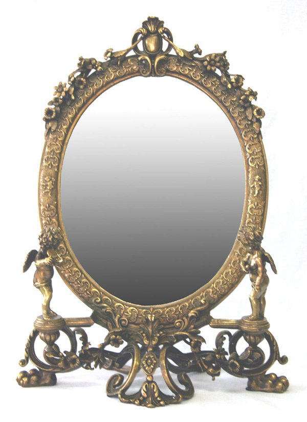 "616: Bronze Dresser Mirror with Cherubs 21""H"