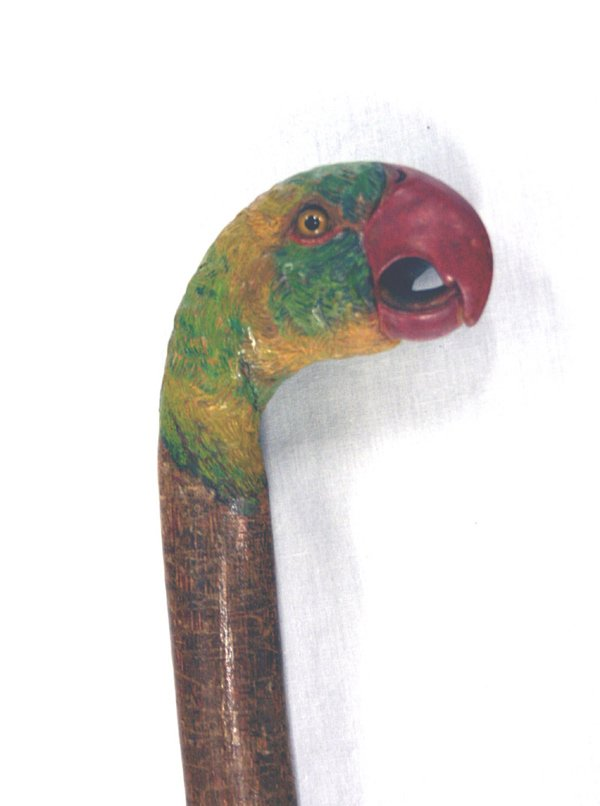 617: Wood Carved Walking Cane Parrot Head