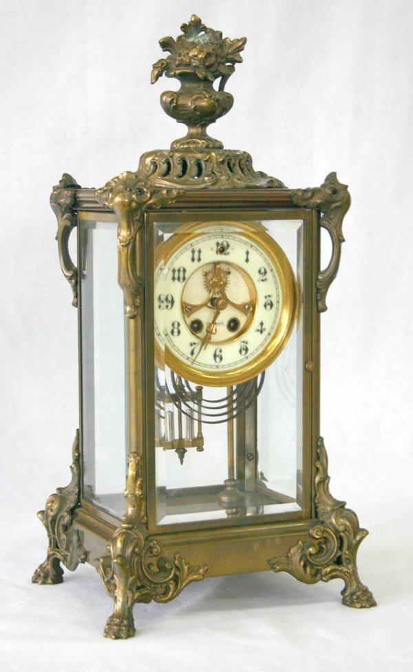 618: Bronze Mantle Clock with open Escapement Movement