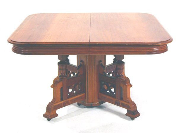 "619: Eastlake Walnut Dining Table with Two Leaves. 29""H"