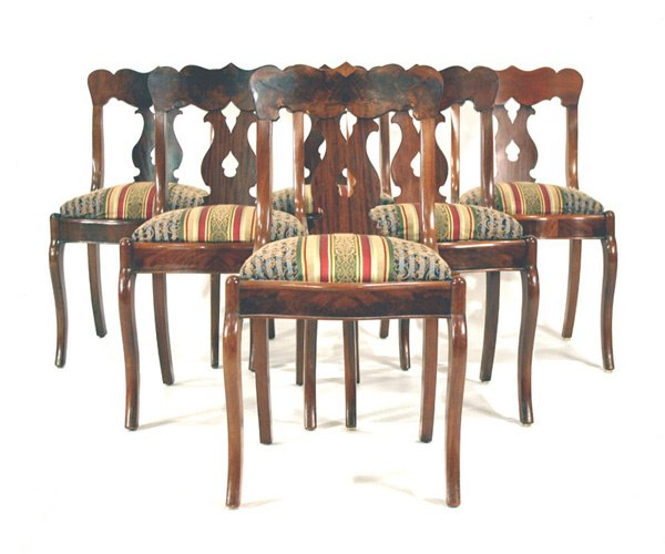 "620: Six Mahogany Empire Chairs. 32""h"