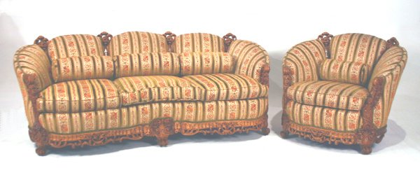 "624: Pierced Carved Sofa & Chair. Sofa 80""l"