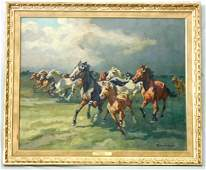 715A Oil on Canvas Painting Horses Running from Stor
