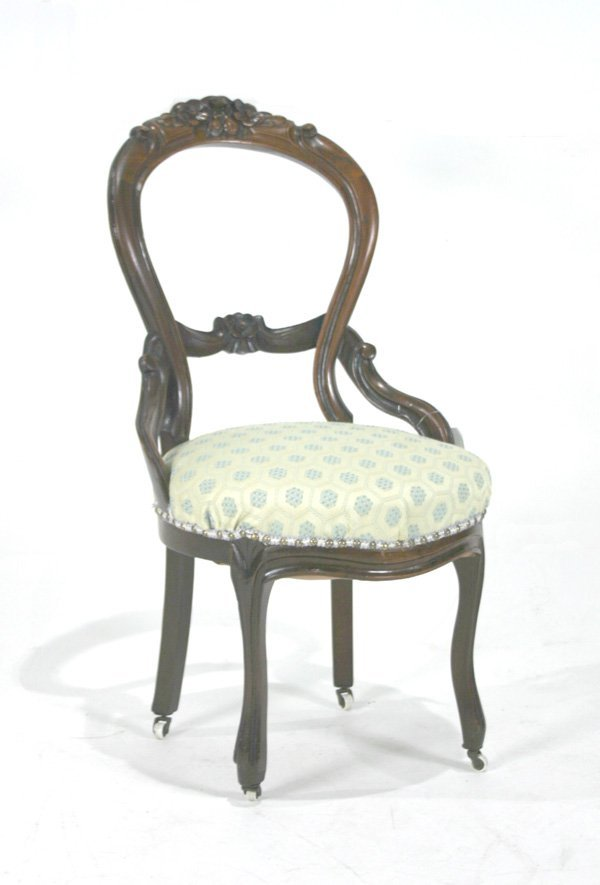 2: Victorian Rose Carved Balloon Back Side Chair