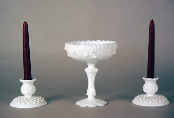 7: Milk Glass Compote & Candlesticks