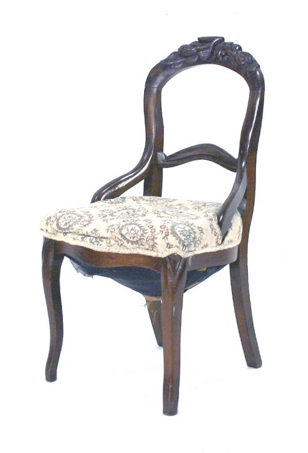 11: Victorian Fruit Carved Balloon Back Chair