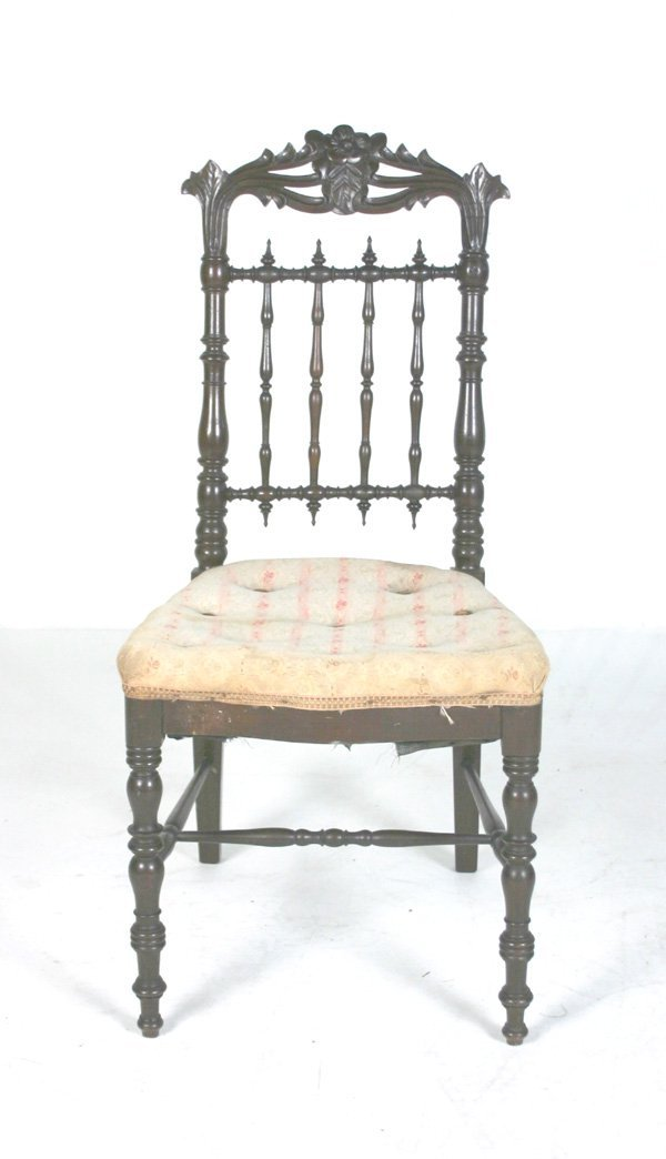 15: Victorian Youth Chair with carved and spindle back