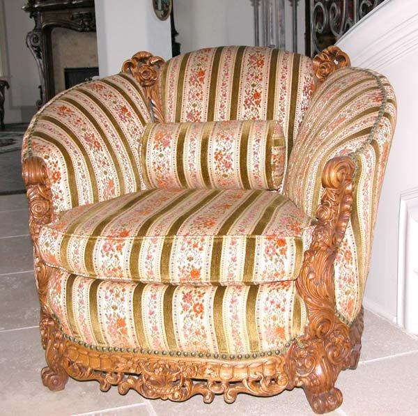 23: 1930's Chair with Carved Trim. Matches Sofa #22