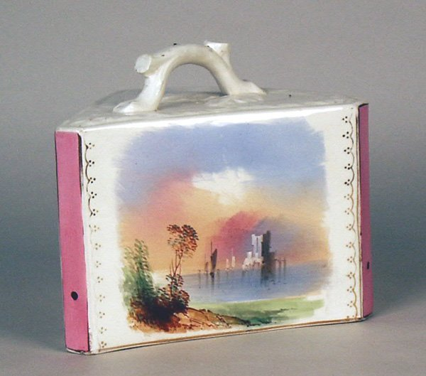 """501: Cheese Dish with Hand Painted Scenes. 7""""h x 9""""l"""