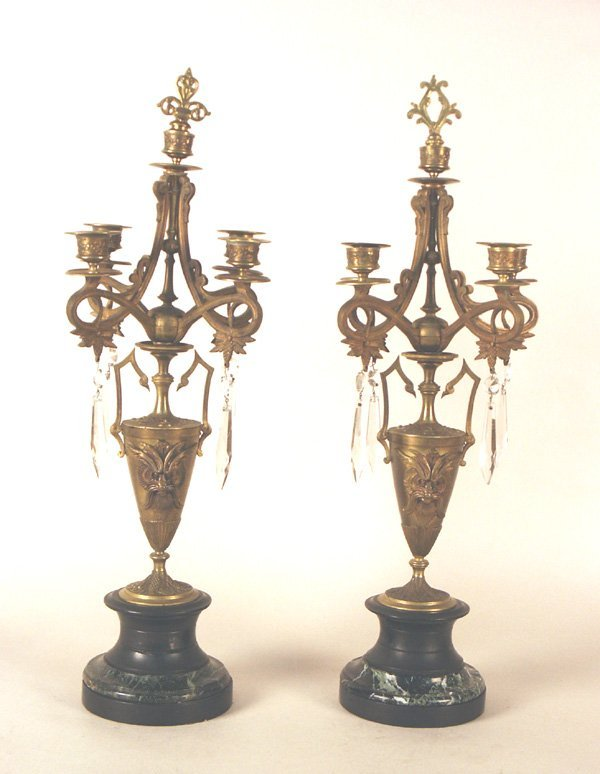 502: Pair French Empire Style Bronze & Marble Candelabr