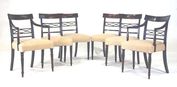 504: Six Mahogany Sheraton Dining Chairs. Circa 1810