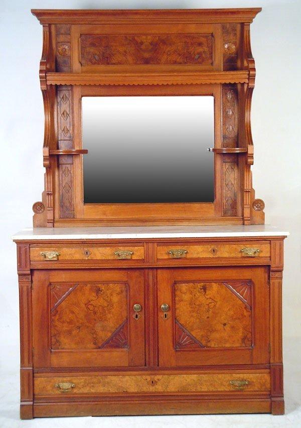 510: Walnut Victorian Marble Top Mirrored Back Sideboar