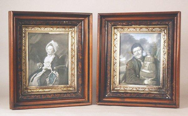 512: Pair Victorian Walnut Shadowbox Frames with Prints