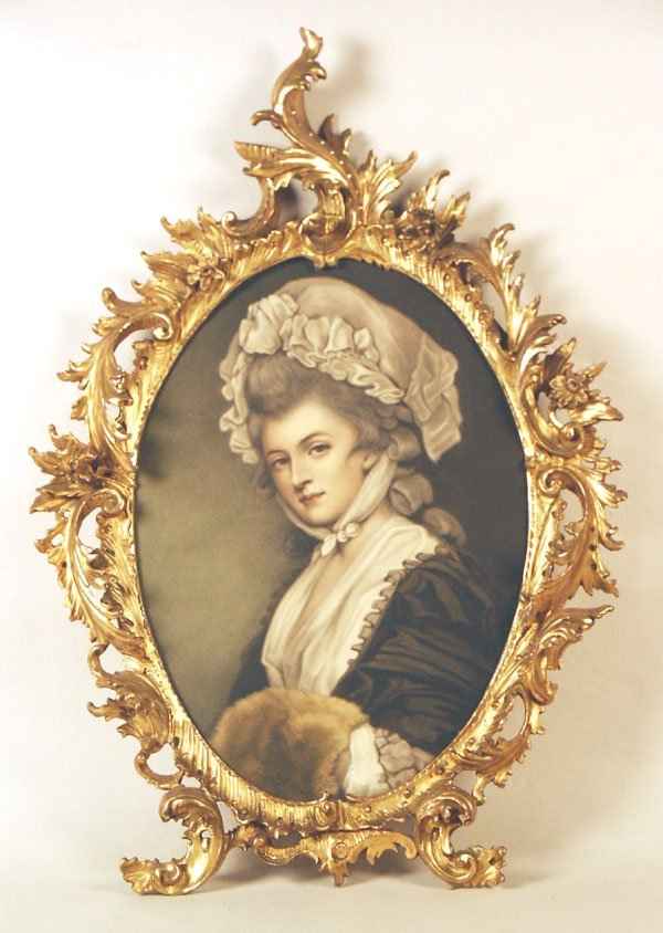 """516: Victorian Giltwood Oval Frame w/Print. 33.5""""h"""
