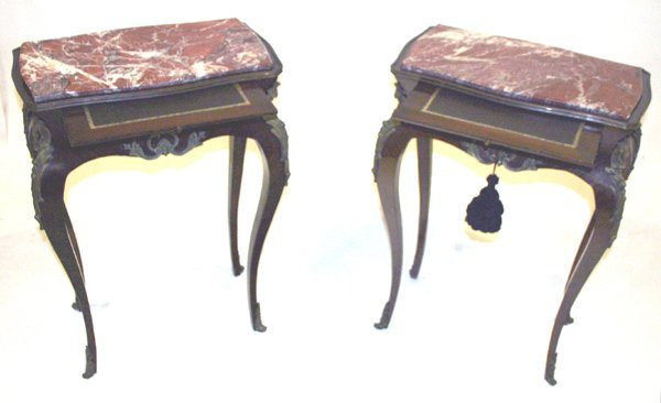 517: Pair Louis XV French Marble Top Occassional Tables