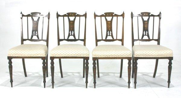 518: English Edwardian Inlaid Parlor Chairs