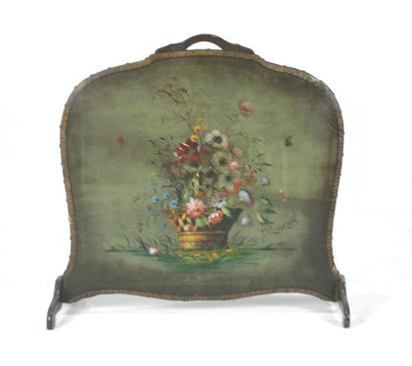 519: Hand Painted Leather Fire Screen