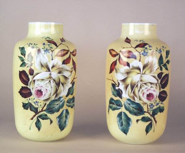 520: Pair Large Hand Painted Floral Bristal Vases