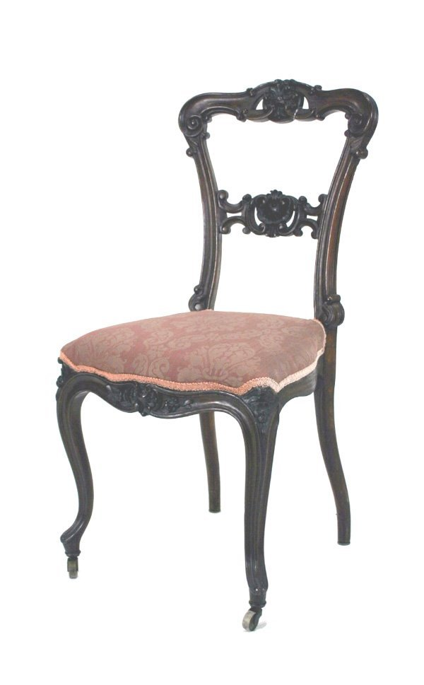 523: Victorian Rosewood Rococo Carved Parlor Chair. Cir
