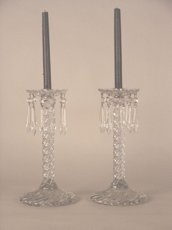 531: Pair Crystal Candelabra with Swirl Pattern