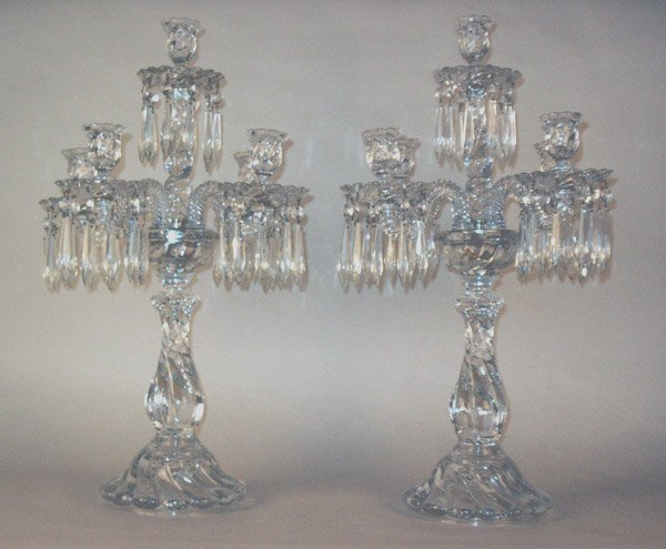 "644: Pair Crystal Candelabra, Attr. Baccarat. 25""h"