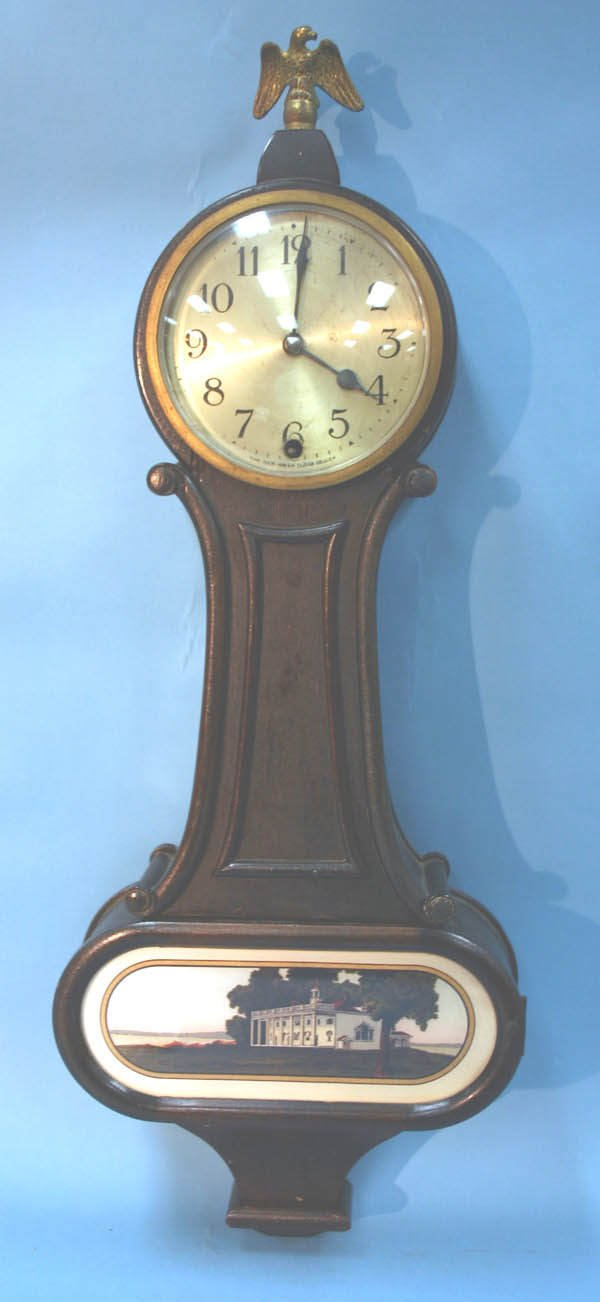 """1: New Haven Banjo Wall Clock, 26""""h. Working condition"""