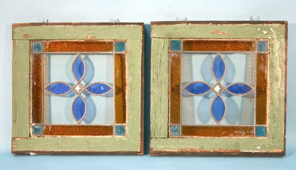 """3: Pair Wood Framed Stained Glass Windows 16.5"""" x 16.5"""""""