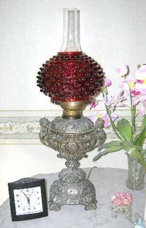 """7: Cranberry Glass Banquet Lamp w/Cherubs. 20""""h"""