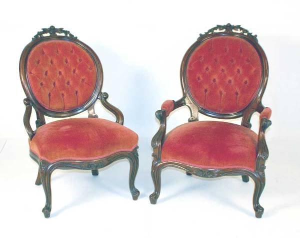 8: Pair Walnut Victorian Chairs w/Carved Crests