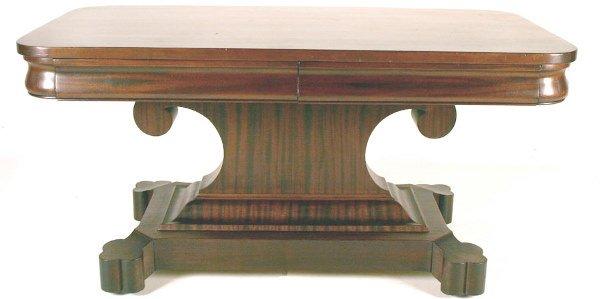 """9: Mahogany Empire Style Library Table. 30""""h x 60""""l x 3"""