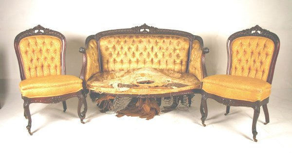 12: American Mahogany Carved 3 Piece Parlor Suite