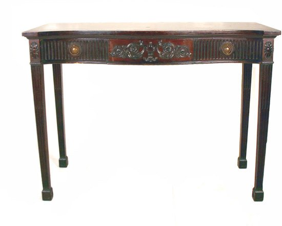 """19: English Mahogany Console with Carved Front. 35""""h x"""