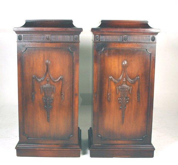 20: Pair English Mahogany Pedestal with Carved Urn & Ta
